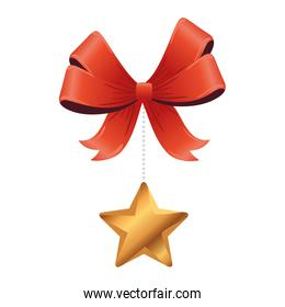 christmas golden star hanging in bow decoration