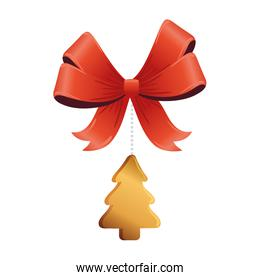 christmas golden pine tree with bow hanging