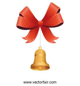 golden christmas bell with bow ribbon hanging