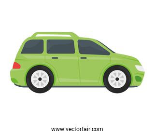 green car vehicle color isolated icon
