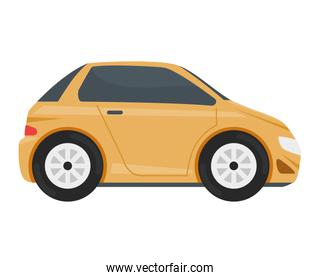 yellow car vehicle color isolated icon