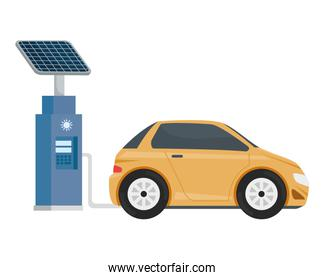 electric ecology service station with yellow car
