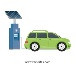 electric ecology service station with green car