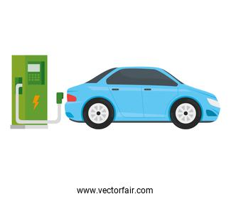 electric ecology service station with light blue car
