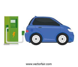 electric ecology service station with purple car