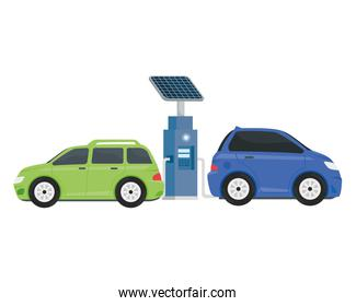 electric ecology service station with purple and green cars