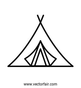 camping tent tool line style icon