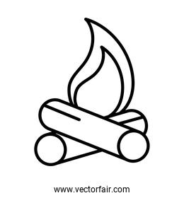 campfire flame burn line style icon