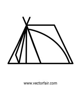 camping tent tool style line icon