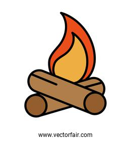 campfire flame burn line and fill style icon