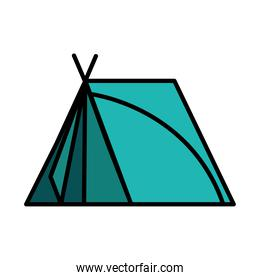 camping tent tool style line and fill icon