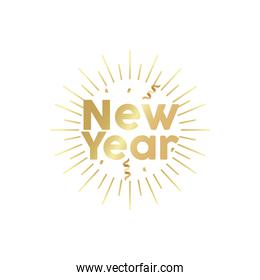 happy new year golden lettering in sunburst frame