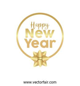 happy new year golden lettering with bow in circular frame