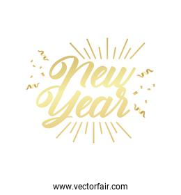 happy new year golden lettering in sunburst frame with confetti