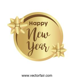 happy new year golden lettering with bows in circular frame