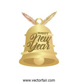 happy new year golden lettering with bell