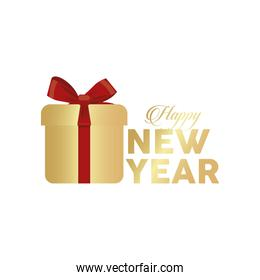 happy new year golden lettering with gift box