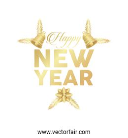 happy new year golden lettering with bells hanging and bow