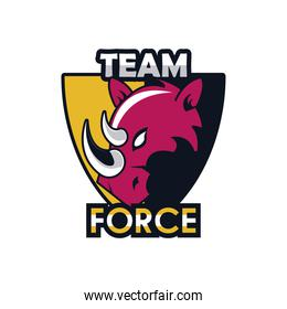 rhino head animal in shield emblem icon with team force lettering
