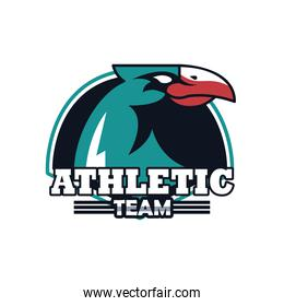 eagle head animal emblem icon with athletic team lettering