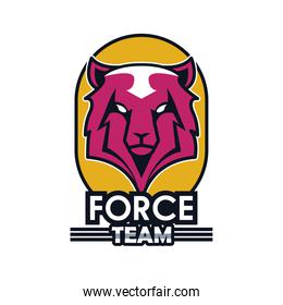 wolf head animal emblem icon with team force lettering