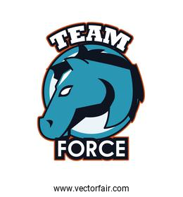 horse head animal emblem icon with team force lettering