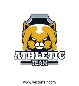 cat head animal emblem icon with athletic team lettering