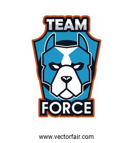 dog head animal emblem icon with team force lettering