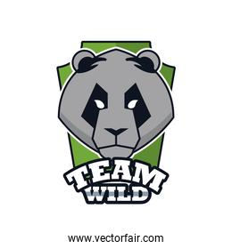 bear head animal emblem icon with team wild lettering
