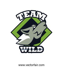 wolf howling head animal emblem icon with team wild lettering
