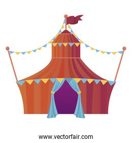 circus tent with garlands entertainment icon