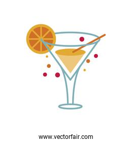 cocktail cup with orange flat style icon