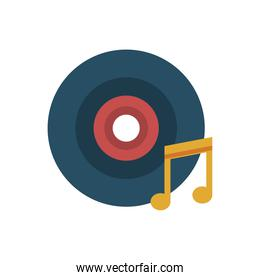 vinyl disk and music note flat style icon