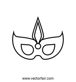 party mask with feather line style icon