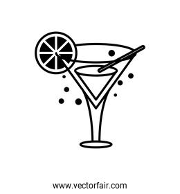 cocktail cup with orange line style icon