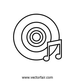 vinyl disk and music note line style icon
