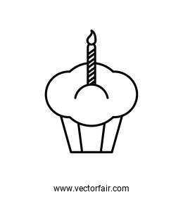 cupcake with candle line style icon