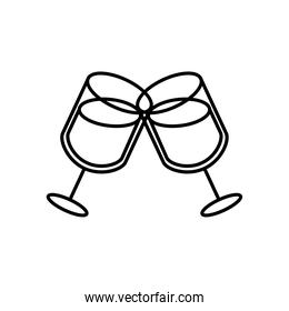 wine cups drinks line style icon
