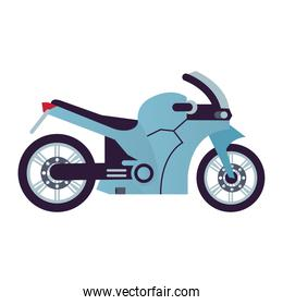 blue race motorcycle style vehicle icon
