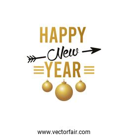 happy new year lettering card with golden balls hanging and arrow