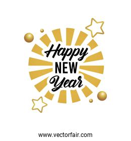 happy new year lettering card with golden stars