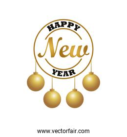 happy new year lettering card with golden balls hanging circular frame