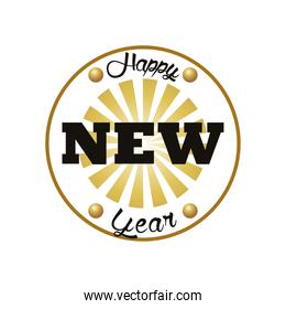 happy new year lettering card in circular frame golden
