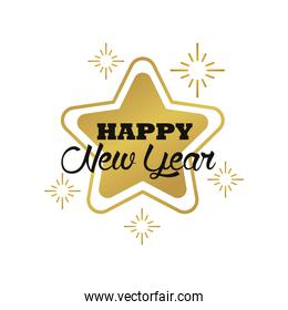 happy new year lettering card with golden snowflakes and star