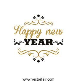 happy new year lettering card in golden frame template
