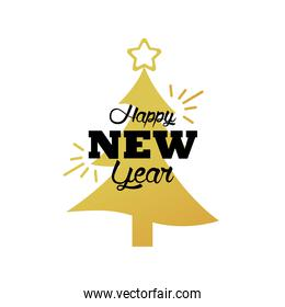 happy new year lettering card with golden christmas tree