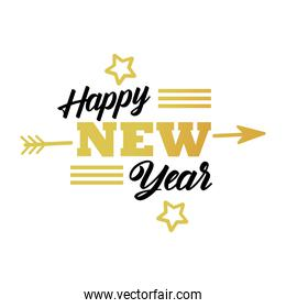 happy new year lettering card with golden stars and arrow