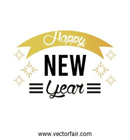 happy new year lettering card with golden ribbon and snowflakes