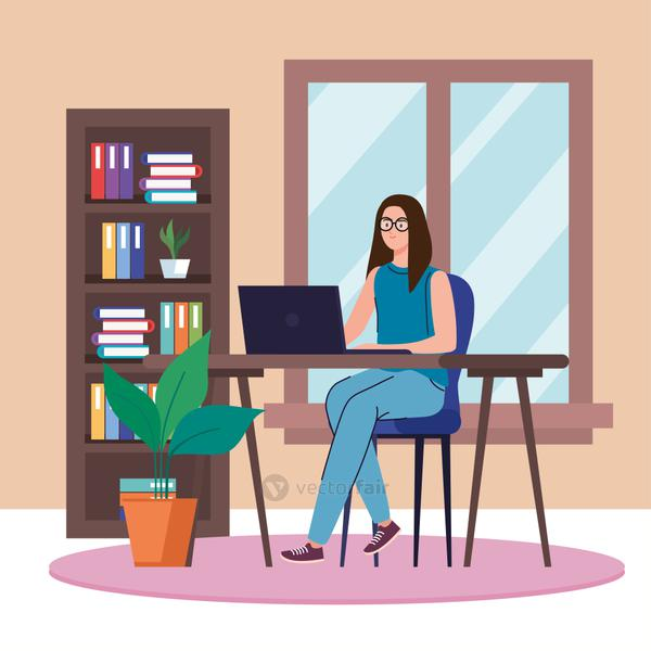 woman with laptop working from home vector design