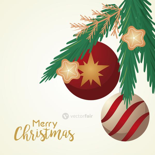 happy merry christmas lettering card with balls and stars in pine leafs